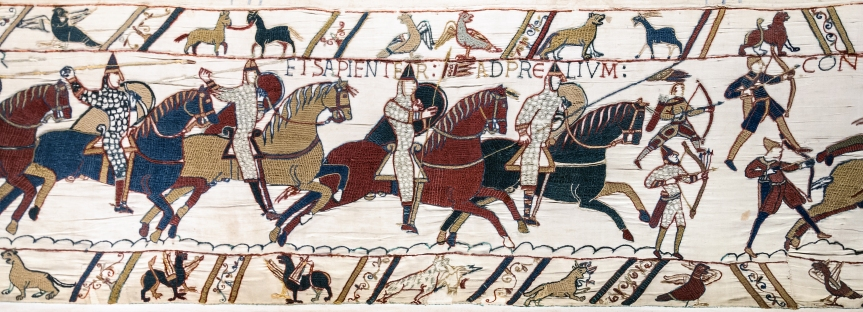 Bayeux_Tapestry_scene51_Battle_of_Hastings_Norman_knights_and_archers