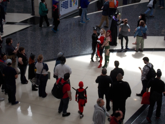 With issues of fake geek girls and cosplay not equaling consent, how do we deal with the dynamics seen in this picture between female cosplayers and male fans? (C2E2 2014)